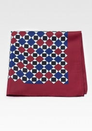 Retro Maroon, Dark Blue and White Geometric Print Hanky