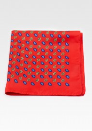 Suit Pocket Square in Bright Red with Dark Blue and Gold Paisley