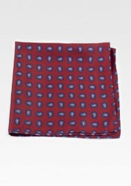 Maroon Red Pocket Square with Paisley Print in Pink and Blue