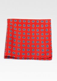 Deep Tomato Red Paisley Pocket Square