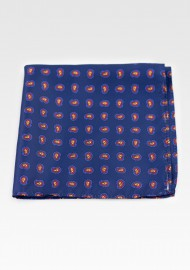Contemporary Paisley Print Hanky in Dark Blue