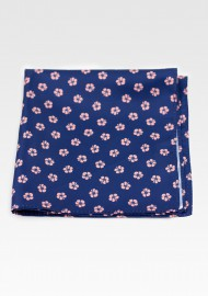Navy Hanky with Soft Blush Hawaiian Flowers