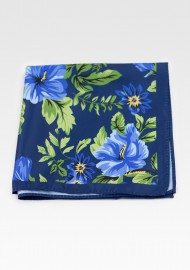 Dark Blue Pocket Square with Floral Hawaiian Print