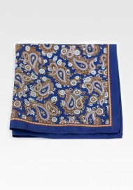 Suit Hanky in Navy with Antique Gold Paisley Design