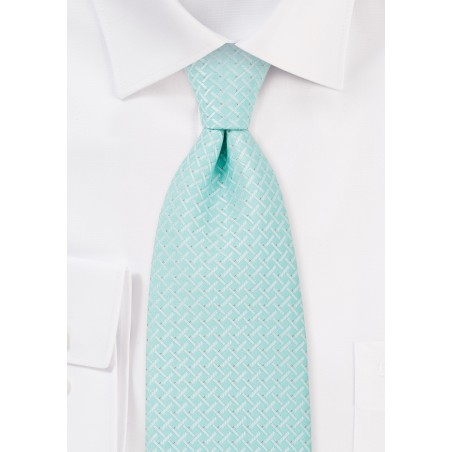Light Cyan Blue Tie in XL Length