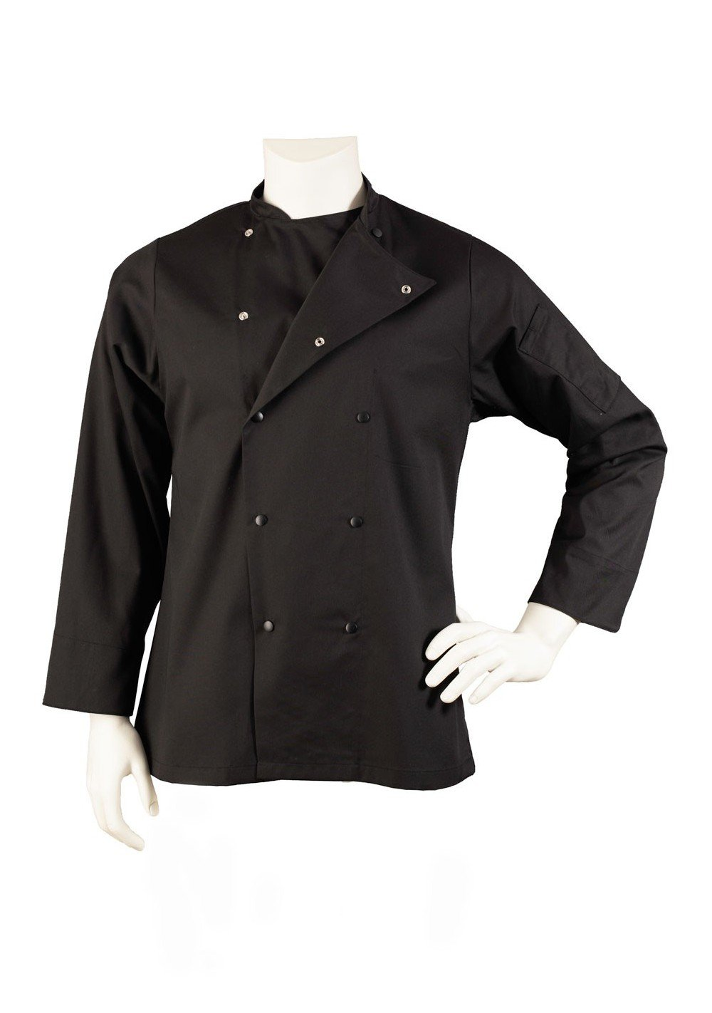 black mens chef jacket with fast snap buttons