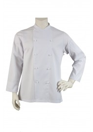 Classic white chef coat with double row buttons