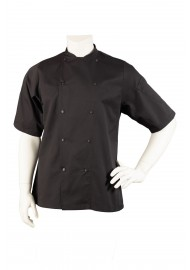 short sleeve black chef jacket light weight comfort fit
