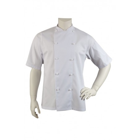 white chef jacket short sleeves relaxed fit men and women