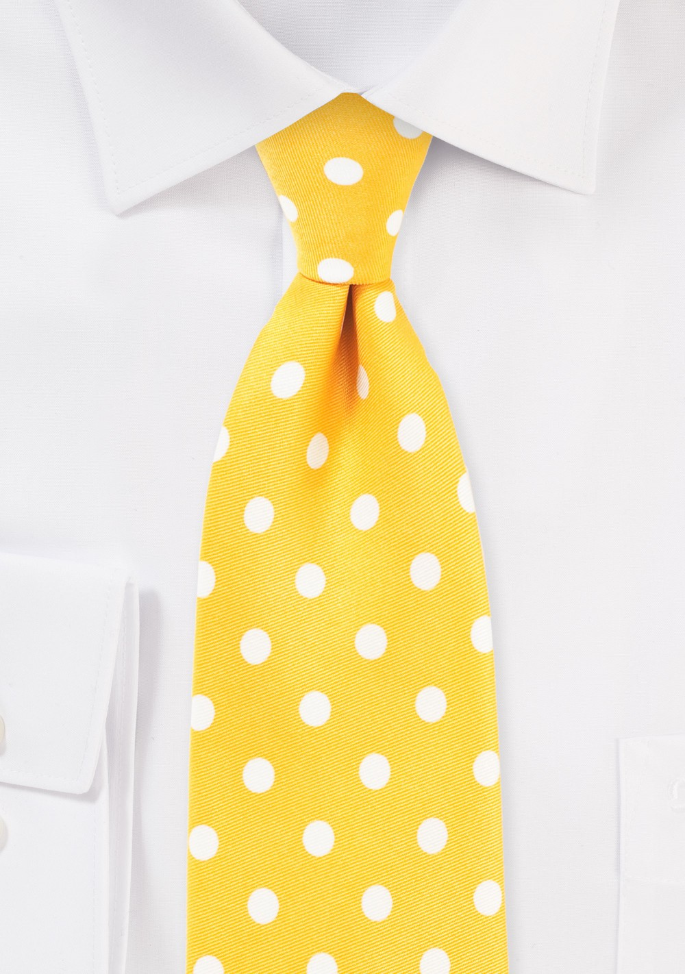 Bright Yellow Tie with White Polka Dots