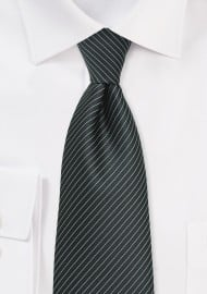 Pencil Stripe Kids Tie in Charcoal and Silver