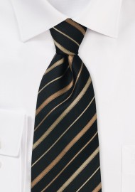 Black striped necktie  -  Black silk tie with bronze and copper stripes