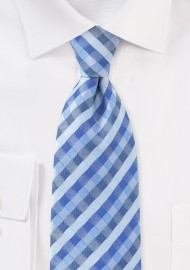 Tonal Blue Check Pattern Tie for Kids