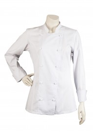 Women's Double Breasted Chef Jacket in White Front