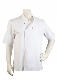 Mens Short Sleeve Chef Cooking Jacket in White Front