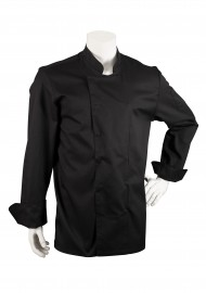 Mens Chef Cooking Coat in Black with Double Placket Front