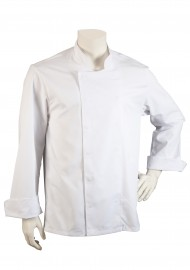 Long Sleeve Mens Chef Coat in White with Double Placket Front