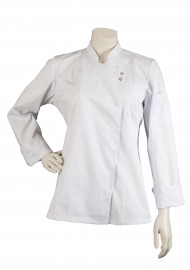 fitted tailored womens chef coat in white