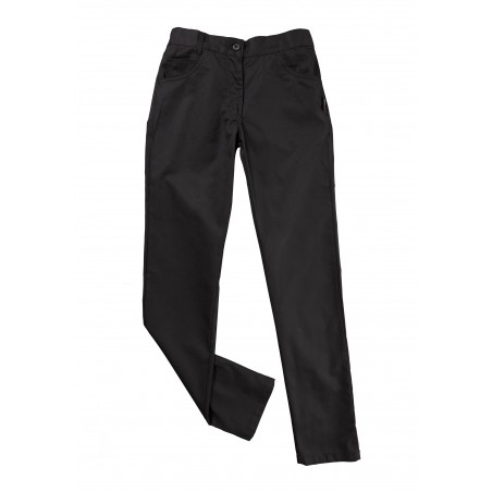 Fitted Women's Chef Cooking Trousers Pants in Jet Black