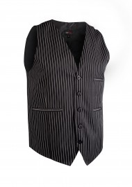 Pin Striped Men's Waiter Vest in Black and Gray