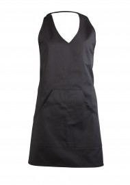 V-Neck Women's Tuxedo Cooking Apron in Jet Black