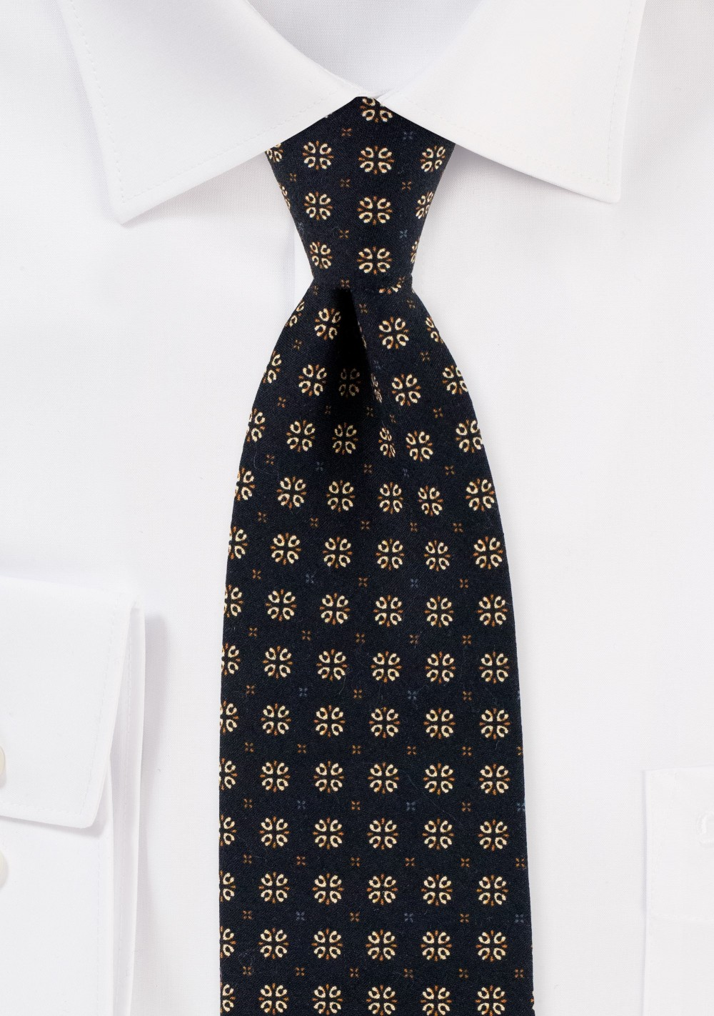 Black and Gold Geometric Print Tie in Cotton
