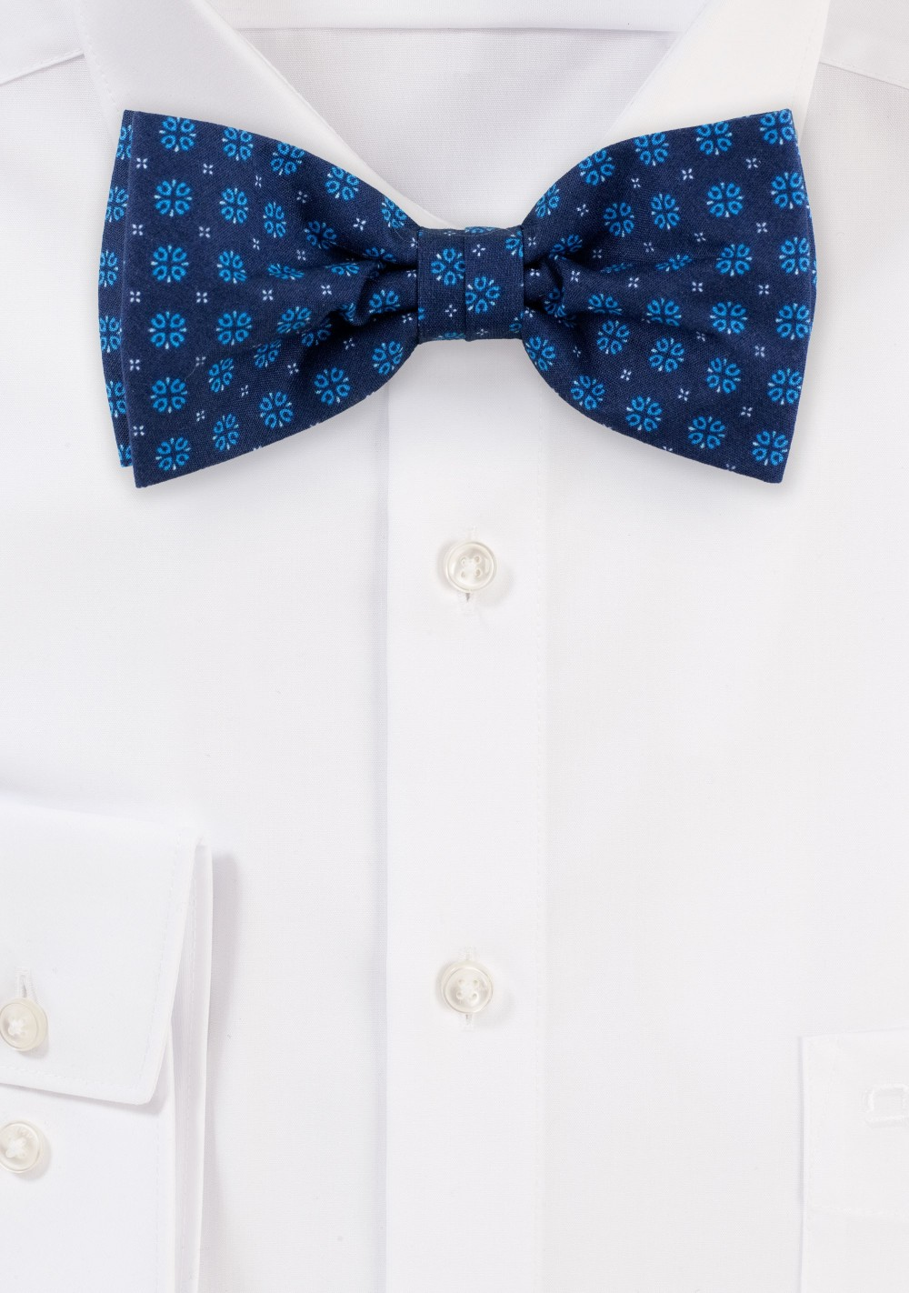 Geo Print Cotton Bow Tie in Navy and Blues
