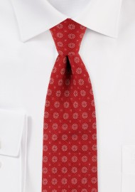 Slim Cut Geometric Design Print Tie in Cherry Red