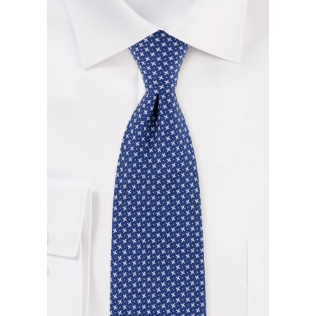 Blue Geometric Print Skinny Cotton Tie in Royal Blue