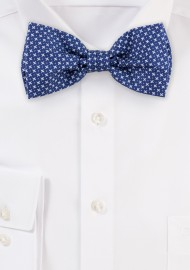 Royal Blue Geometric Print Cotton Bow Tie