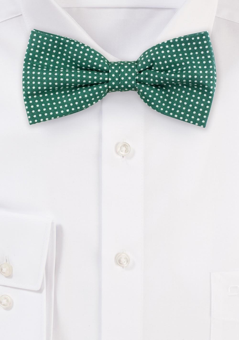 Kelly Green Micro Dot Cotton Bow Tie