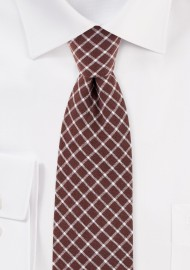 Slim Cut Window Pane Check Tie in Brown and Tan