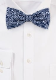 Bandana Paisley Cotton Bow Tie in Navy