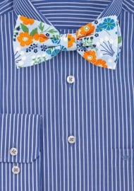Sky Blue and Orange Floral Bow Tie in Cotton
