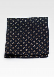 Geometric Pocket Square Hanky in Black and Gold