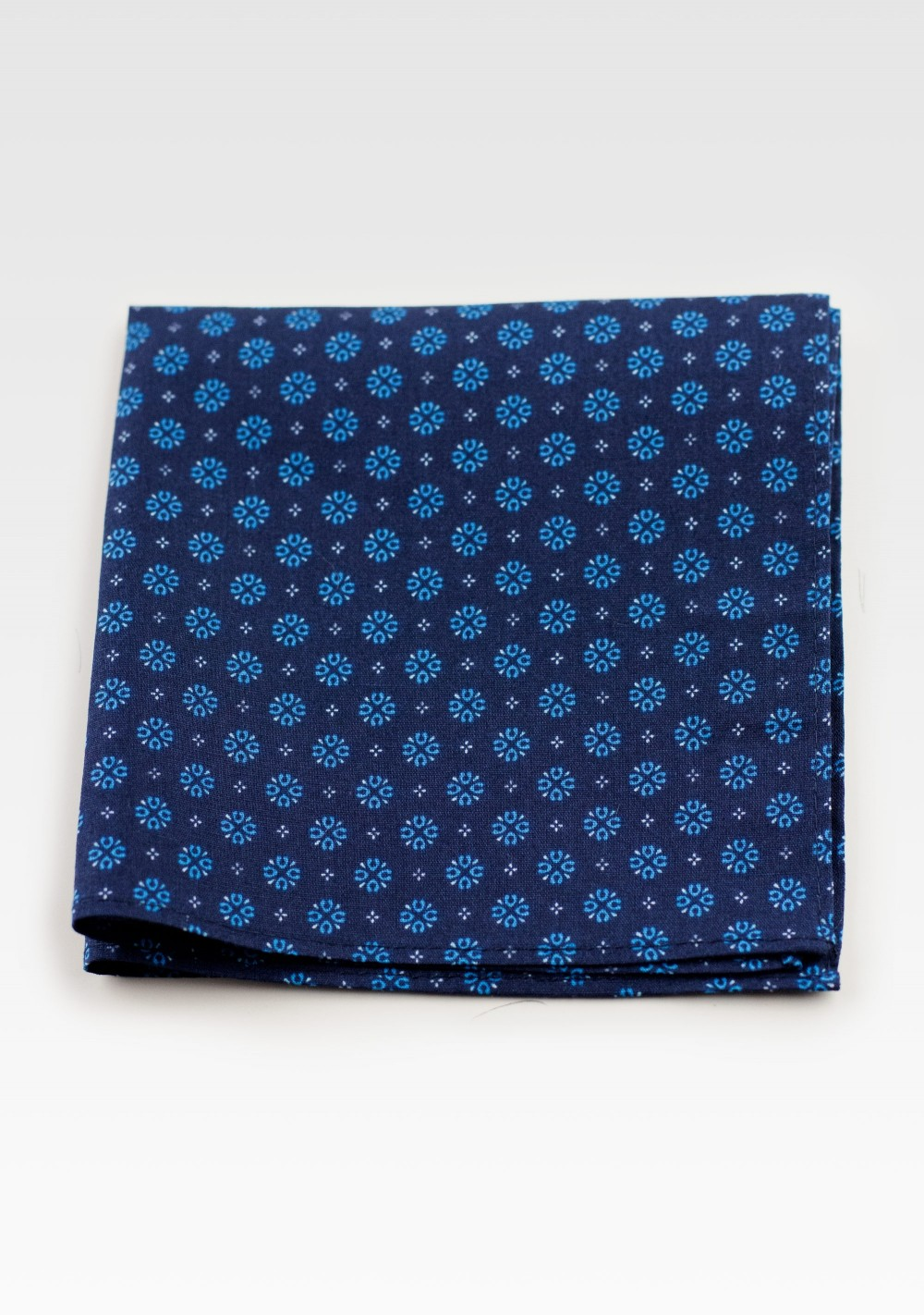 Geometric Print Cotton Pocket Square in Navy & Blues