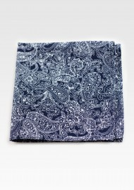 Bandana Paisley Cotton Hanky in Navy and Silver