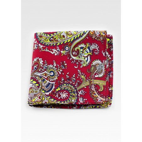 Cotton Pocket Square with Cherry and Gold Paisley Print