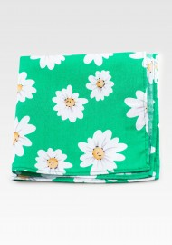 Daisy Flower Print Pocket Square in Spring Green