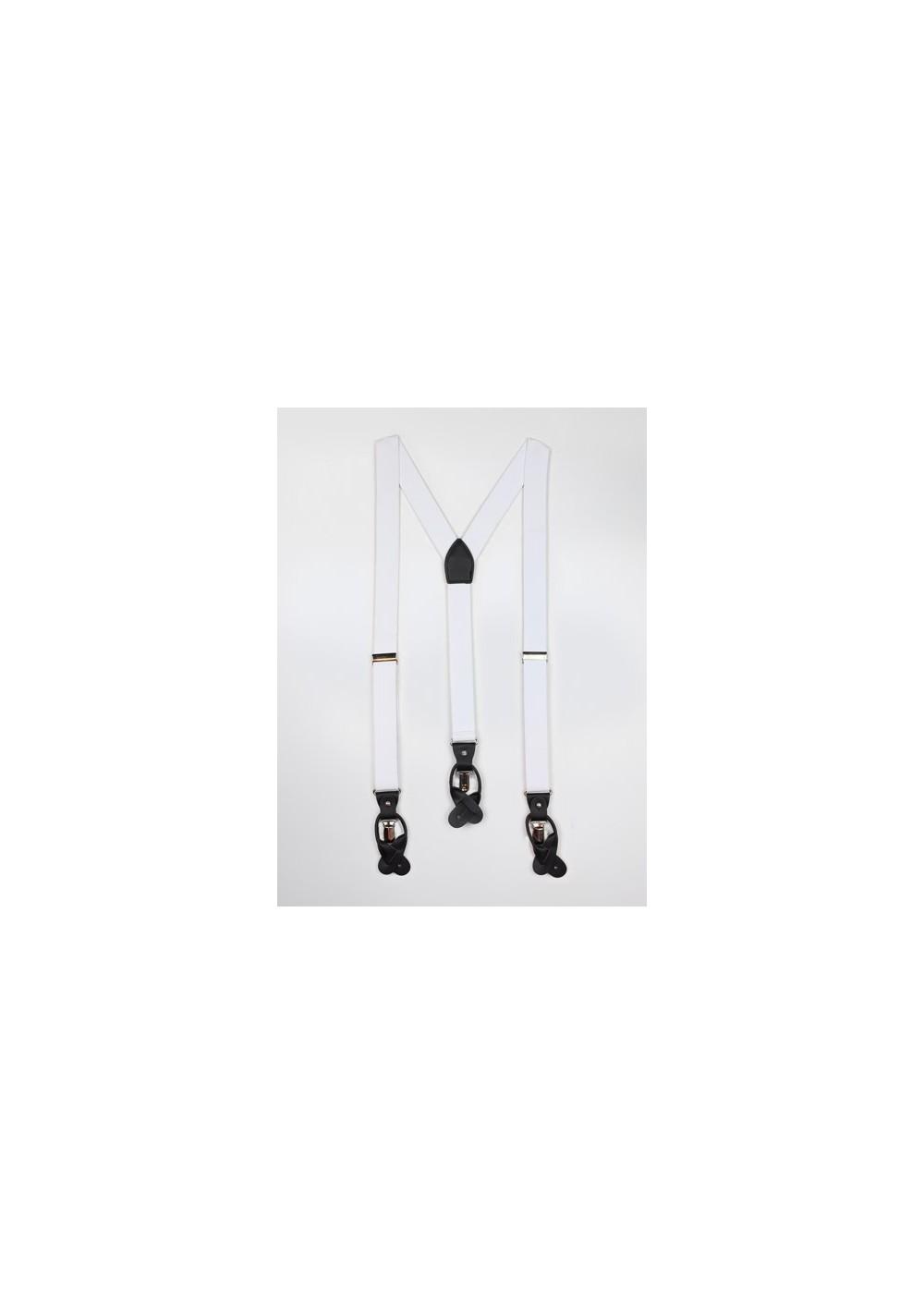 Elegant White Elastic Band Suspenders