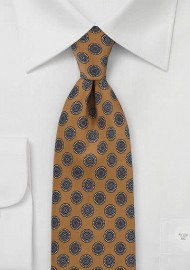 Foulard Print Tie in Antique Gold