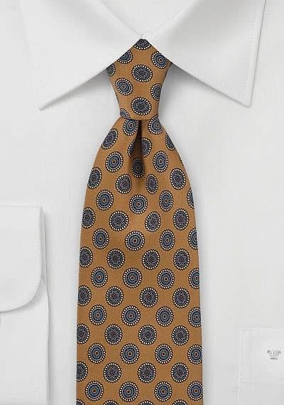 Foulard Print Tie in Antique Gold