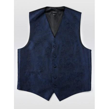 Dark Navy Paisley Dress Vest