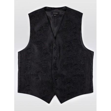 Formal Black Paisley Vest