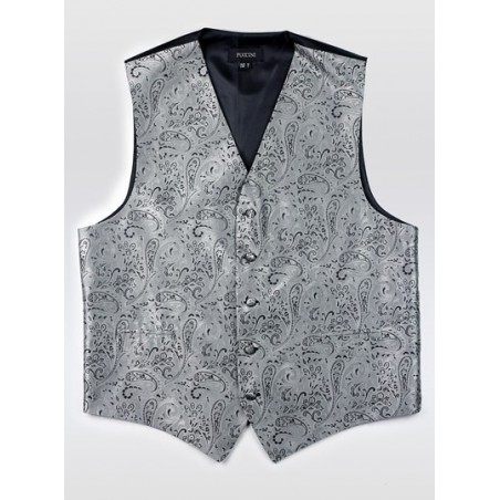 Formal Dress Paisley Vest in Mercury Silver