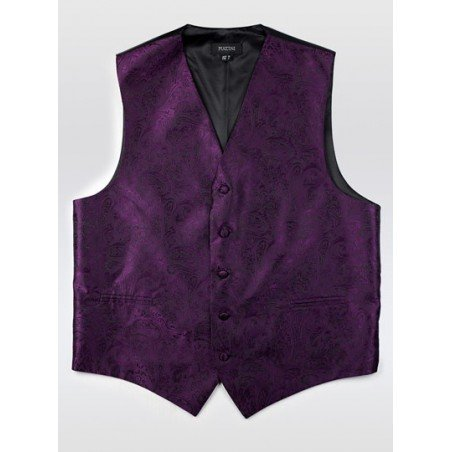 Berry Purple Mens Paisley Vest