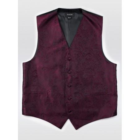 Claret Red Paisley Dress Vest