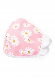 pink floral face mask with filter in cotton