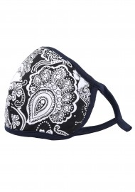 black white floral paisley filter mask