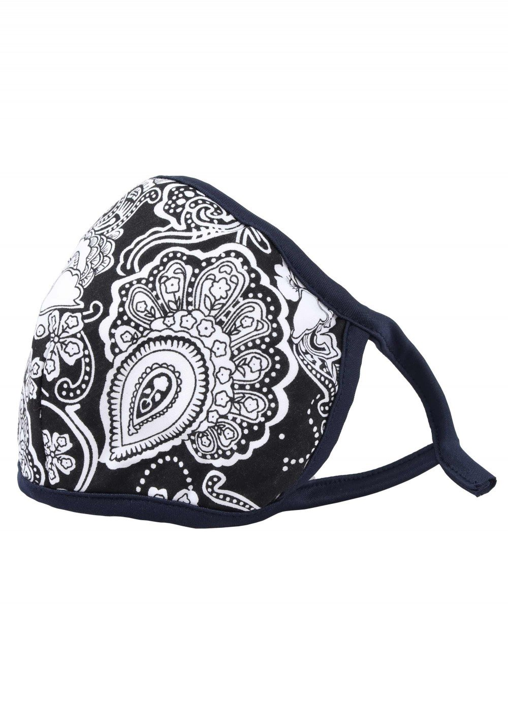 black white floral paisley filter mask